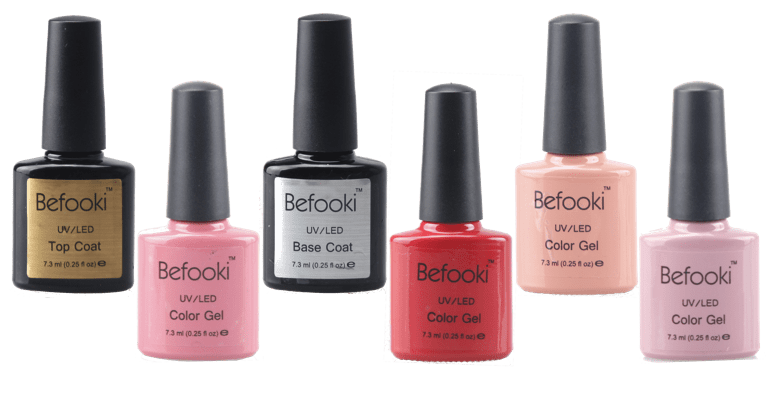 Befooki - Collection of Nail Gel Polish, Top Coat and Base Coat